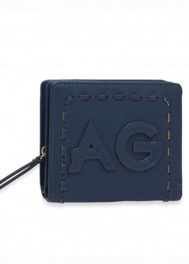 Anna Grace London Faux Leather Wallet   for Women  Navy with Smooth Texture|Grainy