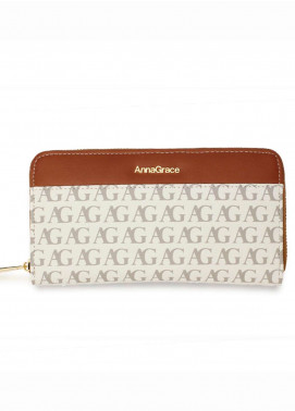 Anna Grace London Faux Leather Wallet   for Women  White with Smooth Texture|Grainy