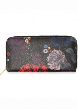Anna Grace London Faux Leather Wallet   for Women  Black with Smooth Texture|Grainy