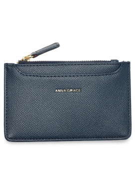 Anna Grace London Faux Leather Pouch   for Women  Navy with Rugged Texture