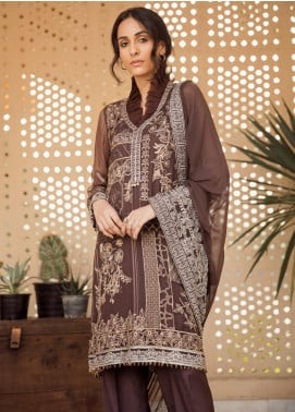 AIK Atelier Embroidered Chiffon Unstitched 3 Piece Suit AIK19C 2 - Luxury Collection