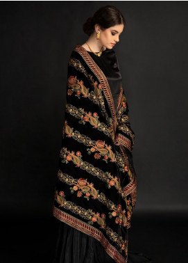 AIK Atelier Embroidered Velvet  Shawl AIK20SH 01 - Winter Collection