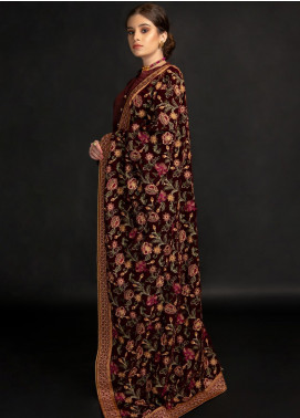 AIK Atelier Embroidered Velvet  Shawl AIK20SH 02 - Winter Collection
