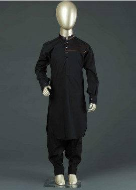 Aizaz Zafar Cotton Formal Kameez Shalwar for Boys -  AZ19B 214 Black