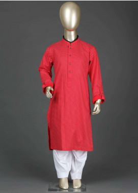 Aizaz Zafar Cotton Formal Boys Kurta Shalwar -  AZ19B 220 Red