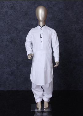 Aizaz Zafar Cotton Formal Kameez Shalwar for Boys -  253 White