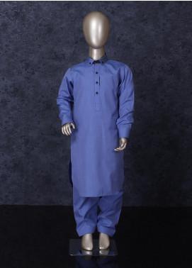 Aizaz Zafar Cotton Formal Kameez Shalwar for Boys -  254 Blue