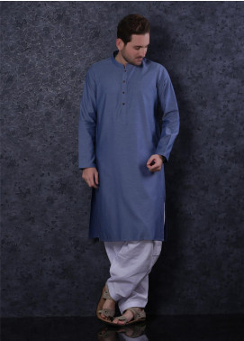 Aizaz Zafar Cotton Formal Kurta for Men -  302 Blue