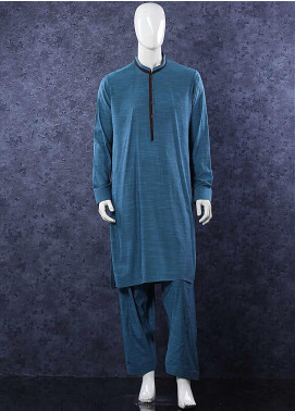 Aizaz Zafar Wash N Wear Formal Men Shalwar Kameez -  D-685 Blue