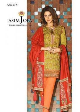 Asim Jofa Embroidered Linen Unstitched 3 Piece Suit AJ16W 3A