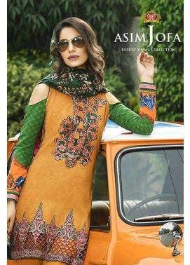 Asim Jofa Embroidered Linen Unstitched 3 Piece Suit AJ16W 4A
