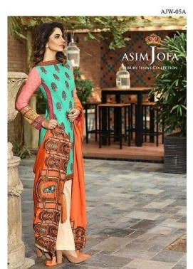 Asim Jofa Embroidered Linen Unstitched 3 Piece Suit AJ16W 5A