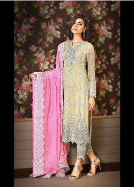 Asim Jofa Embroidered Chiffon Unstitched 3 Piece Suit AJ17C2 1B