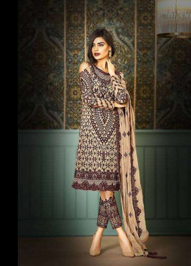 Asim Jofa Embroidered Chiffon Unstitched 3 Piece Suit AJ17C2 5B
