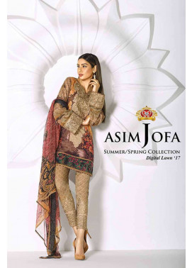 Asim Jofa Embroidered Lawn Unstitched 3 Piece Suit AJ17L 10B