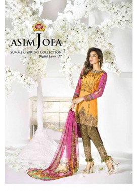 Asim Jofa Embroidered Lawn Unstitched 3 Piece Suit AJ17L 11B