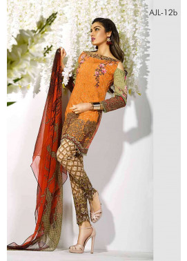 Asim Jofa Embroidered Lawn Unstitched 3 Piece Suit AJ17L 12B