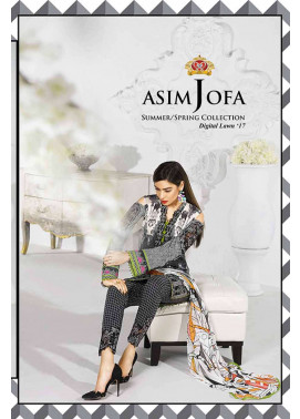 Asim Jofa Embroidered Lawn Unstitched 3 Piece Suit AJ17L 14A