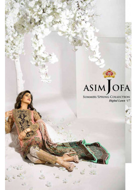 Asim Jofa Embroidered Lawn Unstitched 3 Piece Suit AJ17L 3A