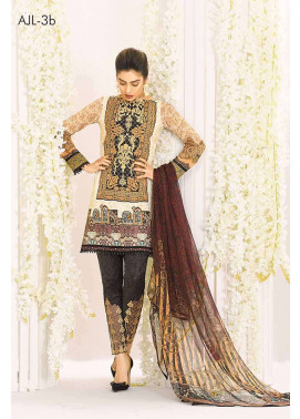 Asim Jofa Embroidered Lawn Unstitched 3 Piece Suit AJ17L 3B