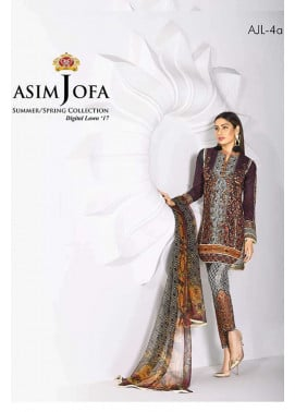 Asim Jofa Embroidered Lawn Unstitched 3 Piece Suit AJ17L 4A