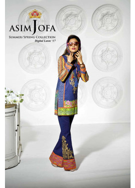 Asim Jofa Embroidered Lawn Unstitched 3 Piece Suit AJ17L 5B