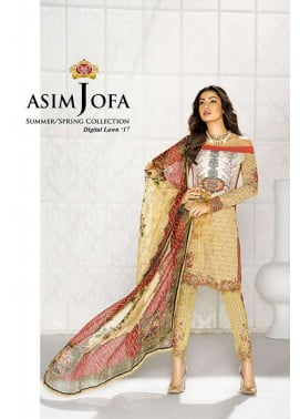 Asim Jofa Embroidered Lawn Unstitched 3 Piece Suit AJ17L 6A