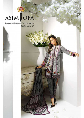 Asim Jofa Embroidered Lawn Unstitched 3 Piece Suit AJ17L 7B