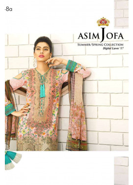 Asim Jofa Embroidered Lawn Unstitched 3 Piece Suit AJ17L 8A