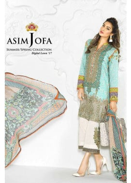 Asim Jofa Embroidered Lawn Unstitched 3 Piece Suit AJ17L 8B