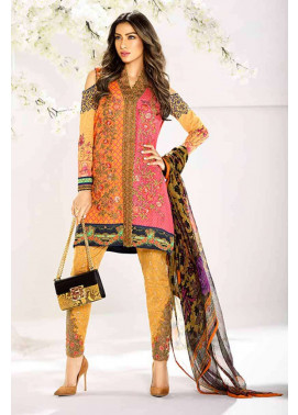Asim Jofa Embroidered Lawn Unstitched 3 Piece Suit AJ17L 9A
