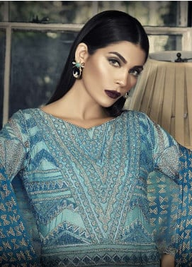 Asim Jofa Embroidered Cotton Net Unstitched 3 Piece Suit AJ18-F2 1A - Signature Embroidered Collection