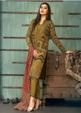 Asim Jofa Embroidered Cotton Net Unstitched 3 Piece Suit AJ18-F2 1B - Signature Embroidered Collection