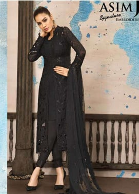 Asim Jofa Embroidered Cotton Net Unstitched 3 Piece Suit AJ18-F2 2A - Signature Embroidered Collection