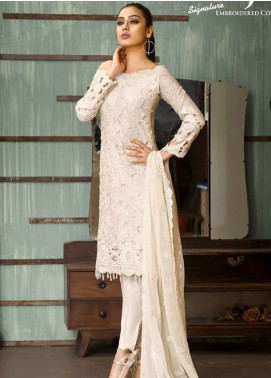 Asim Jofa Embroidered Cotton Net Unstitched 3 Piece Suit AJ18-F2 2B - Signature Embroidered Collection
