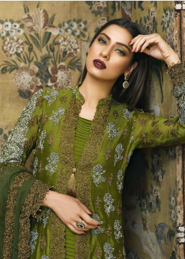 Asim Jofa Embroidered Cotton Net Unstitched 3 Piece Suit AJ18-F2 3A - Signature Embroidered Collection