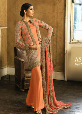 Asim Jofa Embroidered Cotton Net Unstitched 3 Piece Suit AJ18-F2 3B - Signature Embroidered Collection