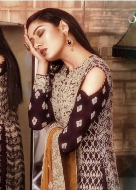 Asim Jofa Embroidered Cotton Net Unstitched 3 Piece Suit AJ18-F2 4A - Signature Embroidered Collection