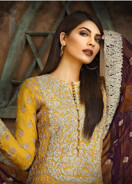 Asim Jofa Embroidered Cotton Net Unstitched 3 Piece Suit AJ18-F2 4B - Signature Embroidered Collection