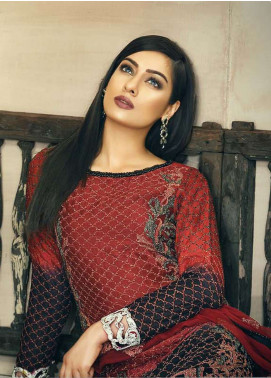 Asim Jofa Embroidered Cotton Net Unstitched 3 Piece Suit AJ18-F2 5A - Signature Embroidered Collection