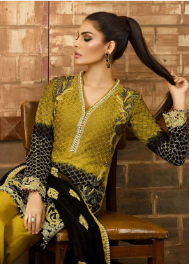 Asim Jofa Embroidered Cotton Net Unstitched 3 Piece Suit AJ18-F2 5B - Signature Embroidered Collection