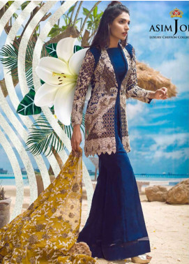 Asim Jofa Embroidered Chiffon Unstitched 3 Piece Suit AJ18E 1A - Eid Collection