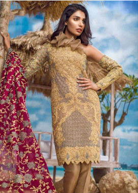Asim Jofa Embroidered Chiffon Unstitched 3 Piece Suit AJ18E 1B - Eid Collection