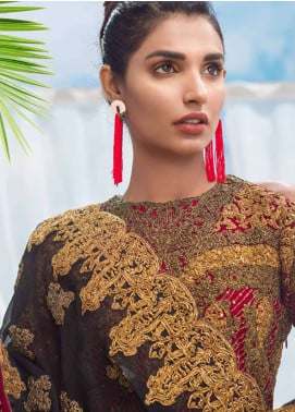 Asim Jofa Embroidered Chiffon Unstitched 3 Piece Suit AJ18E 2A - Eid Collection