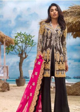 Asim Jofa Embroidered Chiffon Unstitched 3 Piece Suit AJ18E 2B - Eid Collection