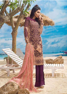 Asim Jofa Embroidered Chiffon Unstitched 3 Piece Suit AJ18E 4B - Eid Collection