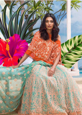 Asim Jofa Embroidered Chiffon Unstitched Lenghas AJ18E 5B - Eid Collection