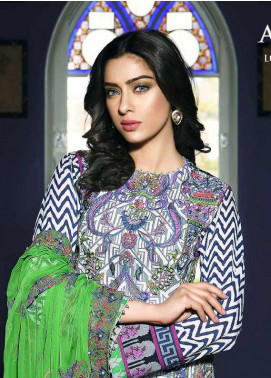 Asim Jofa Embroidered Lawn Unstitched 3 Piece Suit AJ18L 10A - Spring / Summer Collection