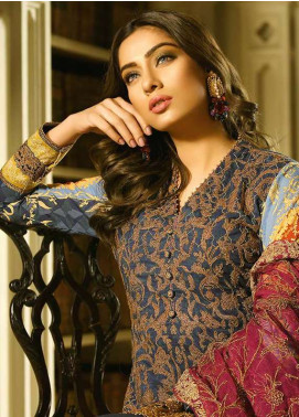 Asim Jofa Embroidered Lawn Unstitched 3 Piece Suit AJ18L 12A - Spring / Summer Collection