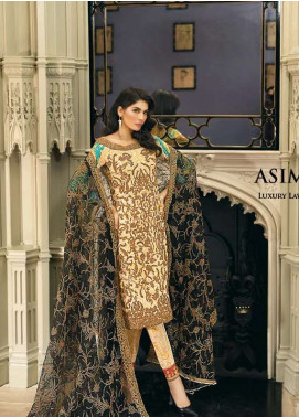 Asim Jofa Embroidered Lawn Unstitched 3 Piece Suit AJ18L 12B - Spring / Summer Collection